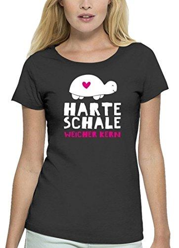 Lustiges Premium Damen T-Shirt aus Bio Baumwolle Harte Schale weicher Kern Stanley Stella Anthrazite