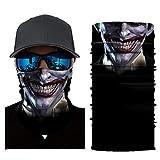 Feitb Dunkler Clown Muster Maske Hals Schlauch Ski Face Shields Schal Radfahren Motorrad Gesichtsmaske Sturmhaube Halloween Party(Angeln, Laufen, Radfahren, Motorrad, Walken, Reiten etc (D)
