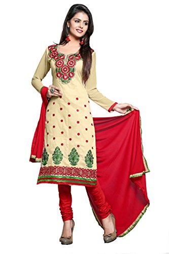 Khushali Women Chanderi Unstitched Salwar Suit (Chickoo)  available at amazon for Rs.745
