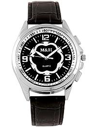 M&H® Branded Black Dial Black Leather Belt Analogue Quartz Movement Watches For Men - W1077BBXZXZ