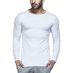 Tinted Men's Plain Slim Fit T-Shirt (TJ102VF_White_Large)