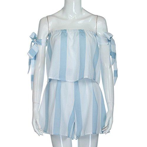 Longra Donna Spalla della spalla due pezzi abbigliamento Blu