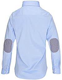 L. Bo Apparel, Smart: Elbow-Patches Camisa para Hombre, Slim Fit con Parches en los Codos