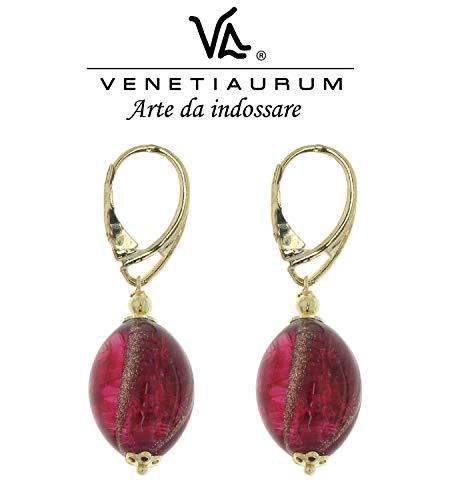 Venetiaurum - Orecchini Da Donna Con Perle In Vetro Originale Di Murano E Argento 925 Placcato Oro 18KT - Gioiello Made In Italy Certificato