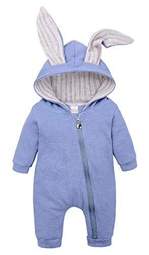 Bevalsa Baby Jungen Mädchen Strampler Overall Kleinkind Hase Ohren Kapuzenpullover Jumpsuit Romper Herbst Spielanzug Baby Neugeborenen Kleidung Säugling 0-18 Monate