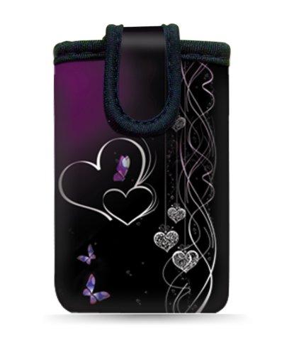"""wortek Universal Designer Handy Smartphone Tasche aus Neopren für diverse Smartphones bis zu 4,3"""" - Blumen Ranke Schwarz Weiß 11 Hearts Black Purple"""