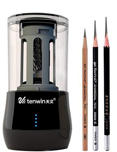 Huadingtech temperamatite elettrico, usb/batteria professionale di schizzo temperamatite per gli artisti heavy duty ricaricabile temperamatite per disegnare matite colorate, forniture d'arte
