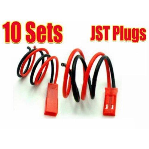 TOOGOO(R) 10 Paar JST BEC Stecker/Buchse mit Kabelue00mm Schwarz Rot in Modellbau