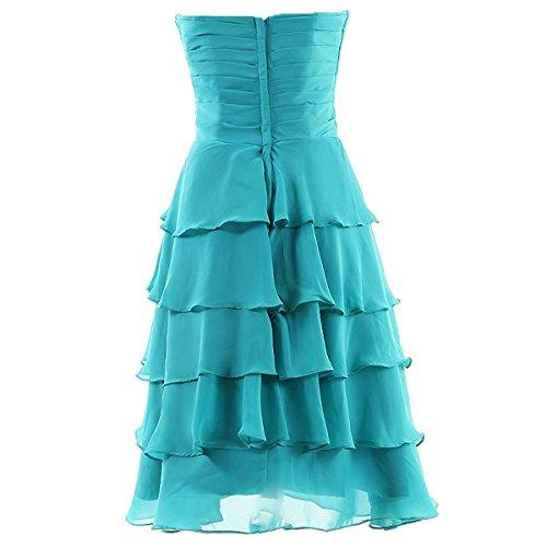 Dresstells, robe courte de demoiselle d'honneur en mousseline sans bretelles, robe de cocktail col en cœur Bleu Saphir