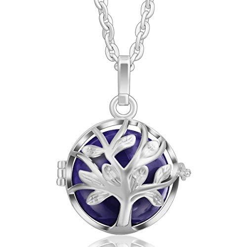 Baum des Lebens Anhänger Silber Kette Halskette Frauen lange Halsketten 35 Glockenspiel Ball Lila