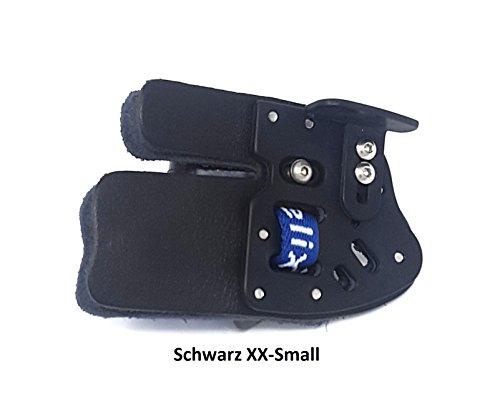 ases Archery Bogenschießen Fingertab aus Leder mit Ankerplatte, Rechtshand Einstellbare Fingerschutz (XXS-Schwarz)