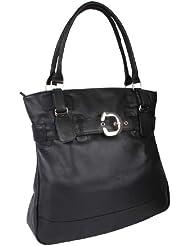 Sac pour faire les courses LOUANA, cuir véritable, noir 37x38x11cm