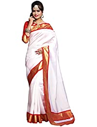 Applecreation Women's Silk Cotton Saree With Blouse Piece(Bhagalpuri Sarees 7Pj5007_Off-White_Free Size)