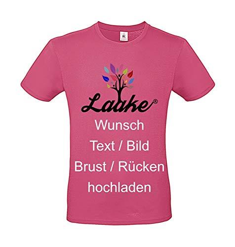 T-Shirt Bedrucken - Text und Bild individuell auf Vorder- und Rückseite Drucken Lassen Frauen und Männer | Personalisiert Farbe Fuchsia, Größe L