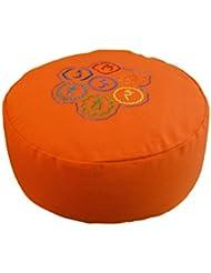 tvamm Lifestyle Cojín redondo de meditación (Zafu) algodón relleno 36x 15cm naranja