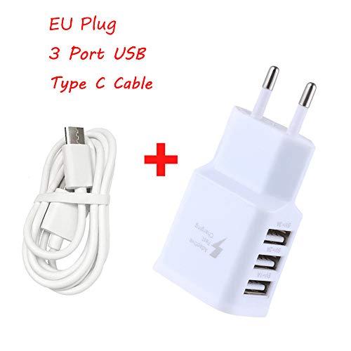USB Ladegerät,Typ c Kabel,5V/2A USB Netzteil, AC 3 Port Stecker,EU Stecker Wandladegerät für Smartphones, Samsung Galaxy, HTC, Huawei, LG G5, Nexus, Nokia,iPhone (Weiß) -