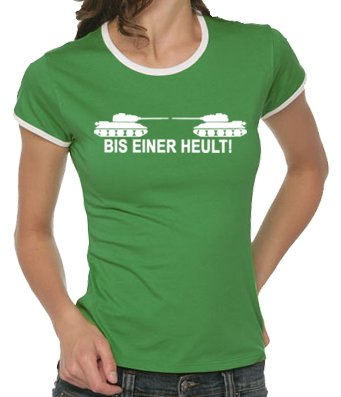 Touchlines Damen Bis einer heult ! Girlie Ringer T-Shirt B9047 Kelly Green