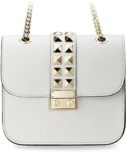kleine originelle Damentasche Clutch – Tasche mit Nieten und Kettenriemen (grau)