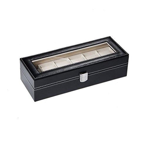 Housweety Uhrenkoffer Uhrenbox Schaukasten Uhrenkasten Uhrenvitrine für 6 Uhren Schwarz