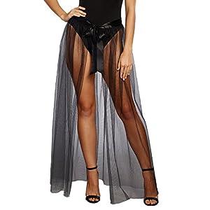 DreamGirl-10831Sheer Tie Front falda, medio/grande