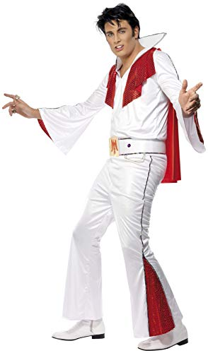 Elvis Jumpsuit Kostüm Presley - Smiffys, Herren Elvis Kostüm, Hemd, Hose, Umhang und Gürtel, Größe: M, 29151