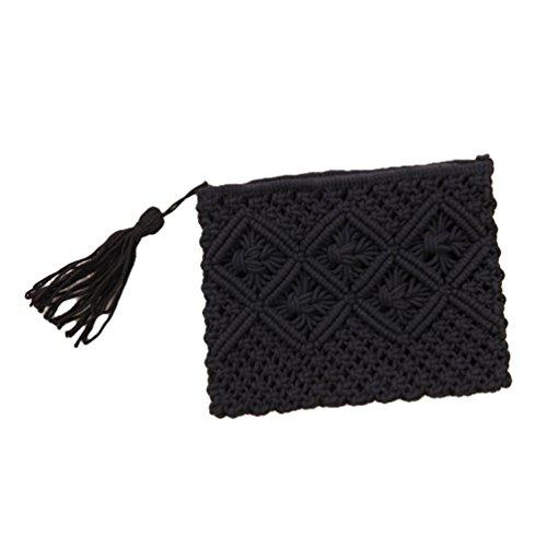 Gewebte Clutch-handtasche (YOUJIA Damen Clutches Gewebt Handtaschen Retro Elegant Casual Strandtasche Purse Damentasche Strohtasche (Schwarz, 25 * 20cm))