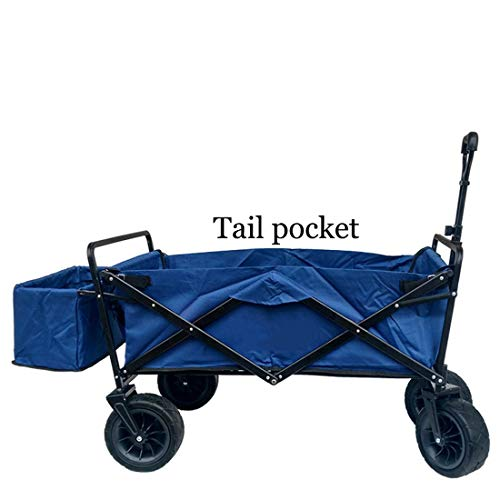 CNCart Tragbare Einkaufswagen Kinderwagen Klappbett Camping Tragen Gepäck Outdoor Angeln Wagen Universal Wheel Handling Trolley,Navy,Tail Pocket -