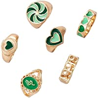6 pcs Y2K Chunky Gold Stacking Rings Thick Dome Enamel Stackable Finger Band Ring Set Heart Flower Snake 1999 Signet…