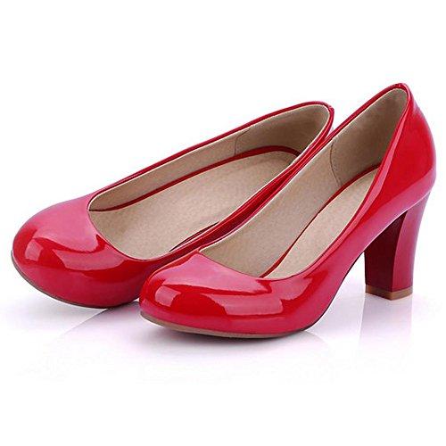 RizaBina Femmes Confortable Bloc Talons Hauts A Enfiler Soiree Escarpins Rouge