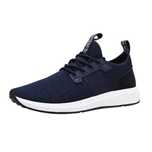 Preisvergleich Produktbild Ansenesna Herren Sneaker Schwarz Mit Weißer Sohle Flach Low Sportliche Schuhe Elastisch Atmungsaktiv Schnürschuhe (39,  Blau)