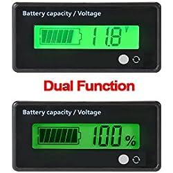 Testeur de Batterie numérique Compteur de capacité de capacité,12V / 24V / 36V / 48V LCD Testeur de capacité de Batterie au Plomb,3.7V indicateur de Batterie de Panneau de jauge au Lithium de Voiture