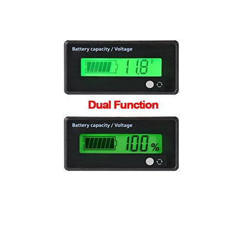 Medidor de batería digital Capacidad de voltaje Medidor de porcentaje, Impermeable 12V / 24V / 36V / 48V LCD Medidor de capacidad de batería de plomo, 3.7V Medidor de litio Monitor de indicador de estatua de batería, Luz de fondo verde Pantalla LCD Lector de capacidad de batería Lector para vehículo automóvil