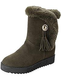 Stiefel Damen Boots Frauen Wildleder Stiefeletten Plüsch Quasten Runde Zehe  Schuhe Halten Warme Winterstiefel Schneestiefel Freizeitschuhe 4b31532eda