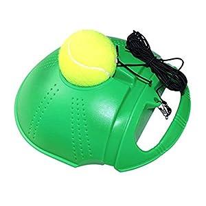 RUNACC Tennis Trainer Set Tennisball mit Schnur Sockelleisten Selbstlernfunktion mit Basis Trainings Tennis und Kugel Federung Tennisbälle, grün