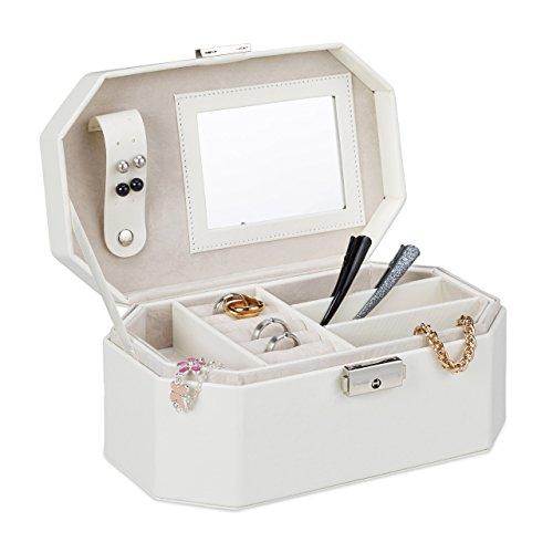 Relaxdays Schmuckkästchen für die Reise, Schmuckkasten mit Schloss, kompakte Schmuckbox für Ringe und Ketten, weiß