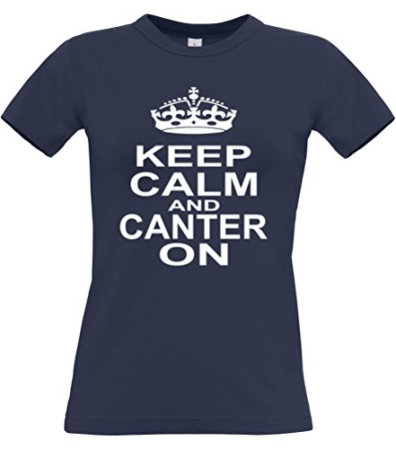 KEEP CALM AND CANTER Femme-ON T-shirt Horse Riding Bleu - Bleu marine