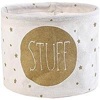 Cdet Cesta de almacenamiento de escritorio de algodón y lino recién impresa armario pequeño colector de ropa storage basket,Blanco