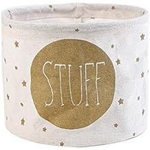 Cdet Cesta de almacenamiento de escritorio de algodón y lino recién impresa armario pequeño colector de ropa storage basket(Blanco)
