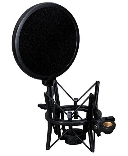 Weymic® integrierte Dämpferbrücke mit Poppschutzfilter für große Kondensatormikrofone von Audio-Technica AT2020 (Großes Fahrwerk)