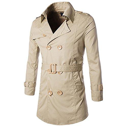 Fashion Herren Slim Fit Mantel Trenchcoat mit Guertel Kaki