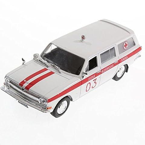 Voiture miniature GAZ 32214 ambulance 1/43 croix rouge russe urss de agostini