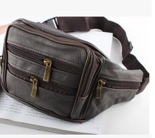 ZYT Erste Schicht Leder Schulter Leder Geldbörsen geschleudert eine Multifunktions-Taschen für Männer Brown