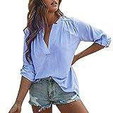 Frauen Baumwolle Oberteile Tops MYMYG Leinen Casual Solid Langarm-Shirt Bluse Button Down T-Shirt Bluse Mantel(Blau,EU:38/CN-L)