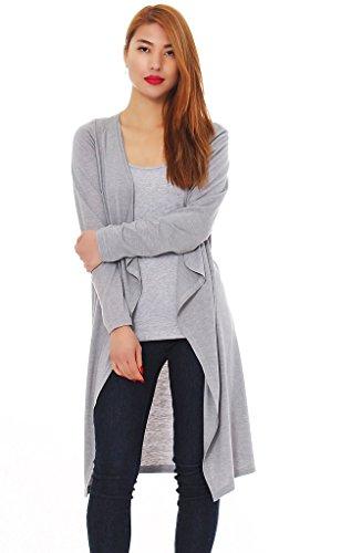 Mississhop 50-04 Japan Style Damen Cardigan Jacke ohne knöpfe Hellgrau S - Armee Mantel Der Union