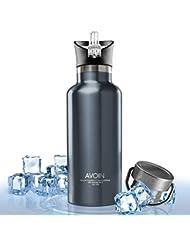 AVOIN colorlife 500ml Botella de bebidas térmica boca ancha de acero inoxidable