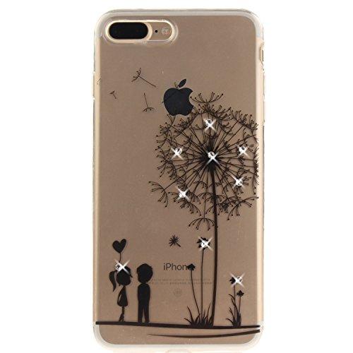 iPhone 7 Plus Hülle, Voguecase Bling Silikon Schutzhülle / Case / Cover / Hülle / TPU + PC Gel Skin für Apple iPhone 7 Plus 5.5(Diamant-Die Hälfte Blume) + Gratis Universal Eingabestift Diamant-Klein Liebhaber