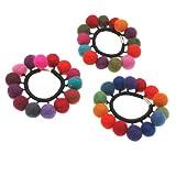 Filz-Haarband mit 14 Bommel, gemischtes 6er-Set