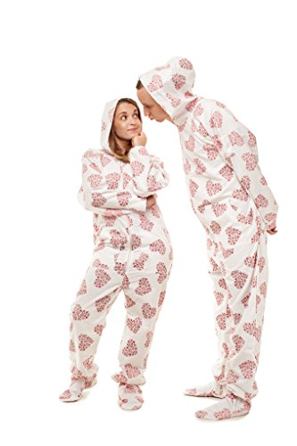 debd7d43bc Snowflake Hearts Kajamaz  Adult Footed Onesie Pyjamaz 100% Flannel (S