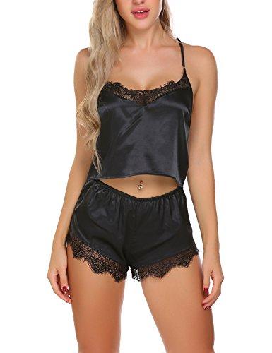 Lucyme Nachthemd Sexy Dessous Set Nachtwäsche Satin Babydoll Zweiteilige Pyjama Frauen, Schwarz 519, EU 40(Herstellergröße: L)