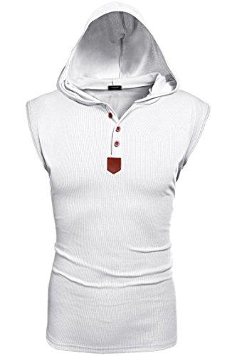 Coofandy Fashion Herren Sportlich Ärmelloses Kapuzenshirt Tank Top Shirts Hoodie T-shirt mit Schaltflächen Neu -
